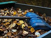 On A Pile Of Yellow Autumn Fallen And Collected In A Pile Of Leaves Lies A Large Blue Shovel poster
