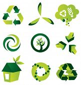 A set of nine environmental vector design elements