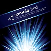 Detailed illustration with a blue burst with stars for text