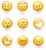 Set of nine smilies with different expressions
