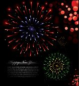 Illustration of exploding fireworks in various colors