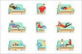 People Resting At Home Relaxing On Sofa Or Armchair Having Lazy Free Time And Rest Set Of Illustrati poster