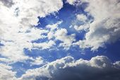 Cloud Formation, Background With Blue Sky And Cirrus Clouds. Cirrus Fibratus, Cirrus Clouds In Latin poster