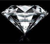 Realistic diamond illustration on black background - vector, no gradient mesh