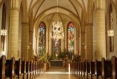 stock photo of pews  - old church from inside in Munster Germany - JPG