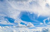 Blue Sky Background With White Dramatic Clouds And Sunlight. Sky Landscape Scene, Blue Sky Backgroun poster