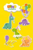 Set Of Funny Dinosaurs Stickers For Party Invitation Card, Greeting Card Designing. Stegosaurus With poster