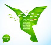 Eco friendly green origami template hummingbird