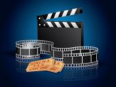 Twisted moviefilm, tickets and clapper board- blue background