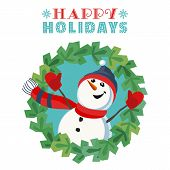 Fancy Seasonal Poster. Cartoon Playful Fun Snowman Snow Ball. Template For Merry Christmas Winter Se poster