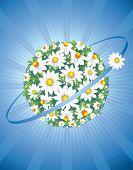 planeta de rueda de Margarita, concepto en el protector de la naturaleza