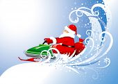 Santa Claus on a snowmobile with a bag of gifts. Vector editable.