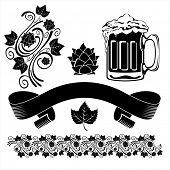 Elementos de design de cerveja. Imagem vetorial.