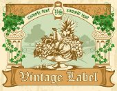 vintage labels, antique columns, entwined with ivy and a bowl of fruit