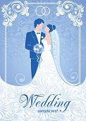 Bride and groom. Gentle wedding background. Vector.