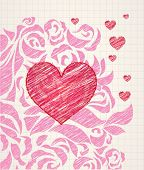 Sketchy heart and roses doodle - ballpoint colorful pen drawing on a squared paper in a notebook or