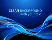 Dark blue abstract horizontal background with curve elements and a space for a text