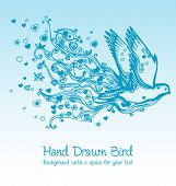 flying bird creative floral hand drawn card