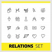 Relations Icons. Set Of Line Icons. Dancing, Heart, Toast. Love Concept. Vector Illustration Can Be  poster