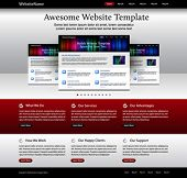website template - metallic, red, white, black colored