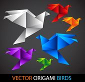 colorful origami birds