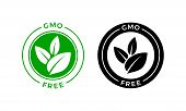 Gmo Free Icon. Vector Green Leaf Non Gmo Logo Sign For Healthy Food Package Label Design poster