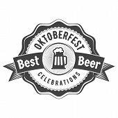 Oktoberfest Celebration. Beer Festival Retro Style Badge, Label, Emblem. Black On White Background. poster