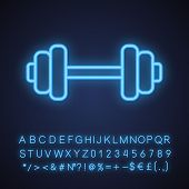 Gym Neon Light Icon. Bodybuilding And Weightlifting Sport Equipment. Dumbbell. Glowing Sign With Alp poster