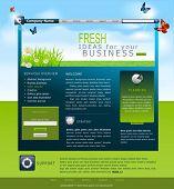 Vector website met madeliefjes en blauwe luchten voor bedrijf