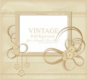 congratulation vector vintage background with ribbons, flowers, lace