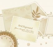 congratulation vector retro background with  lace, envelopes, leaf, pearls