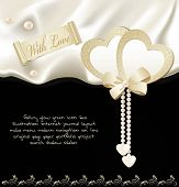 picture of pearl-oyster  - vector holiday black background with silk - JPG