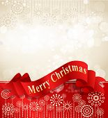 vector christmas background with complimentary red ribbon