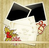 New Year's congratulatory background with vintage cards and photographs