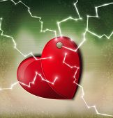 vector heart hanging on a nail with a zipper on a vintage background