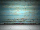 Illuminated grunge metallic roll up door