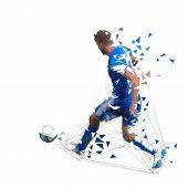Football Player In Blue Jersey Pasing Ball, Abstract Low Poly Vector Drawing. Soccer Player Kicking  poster