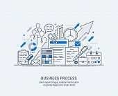 Flat Line-art Illustration Of Business Process, Market Research, Analysis, Planning, Business Manage poster