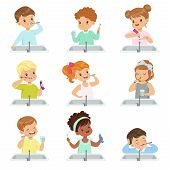 Kids Brushing Teeth Set, Cute Boys And Girls Caring For Their Teeth In Bathroom Vector Illustration  poster