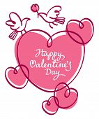 Valentine romantic background with hearts and greeting inscription