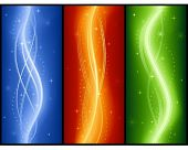 Abstract wave banners with stars, elegant, festive, glowing for Christmas, New Years Eve, anniversaries, etc. 7 global colors, 3 linear gradients per banner, no mesh