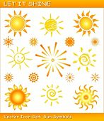 Vector sun icons / symbols in different styles. Use of global color swatches, linear and radial grad