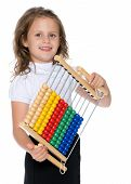 The Girl Counts On Abacus.the Concept Of Happiness, People, Family, Child, Childhood, Teaching Math  poster