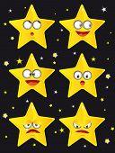 Estrelas. Pouco estrelas sobre um fundo preto.