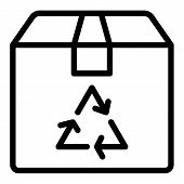 Recycle Sign On A Box Line Icon. Eco Package Vector Illustration Isolated On White. Carton Box With  poster