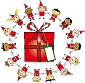 Around the gift. Group of childrens around a gift.