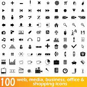 Hundred web, media, business, office and shopping vector icons