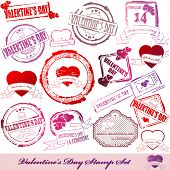 Vector Set of Valentine Day stamps