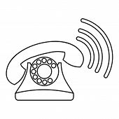 Retro Phone Ringing Icon. Outline Illustration Of Retro Phone Ringing Icon For Web poster