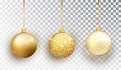 Gold Christmas Tree Toy Set Isolated On A Transparent Background. Stocking Christmas Decorations. Ve poster